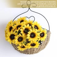 12pcs artificial sunflowers realistic silk fake flowers bouquets for wedding craft decoration valentines day office decor gift