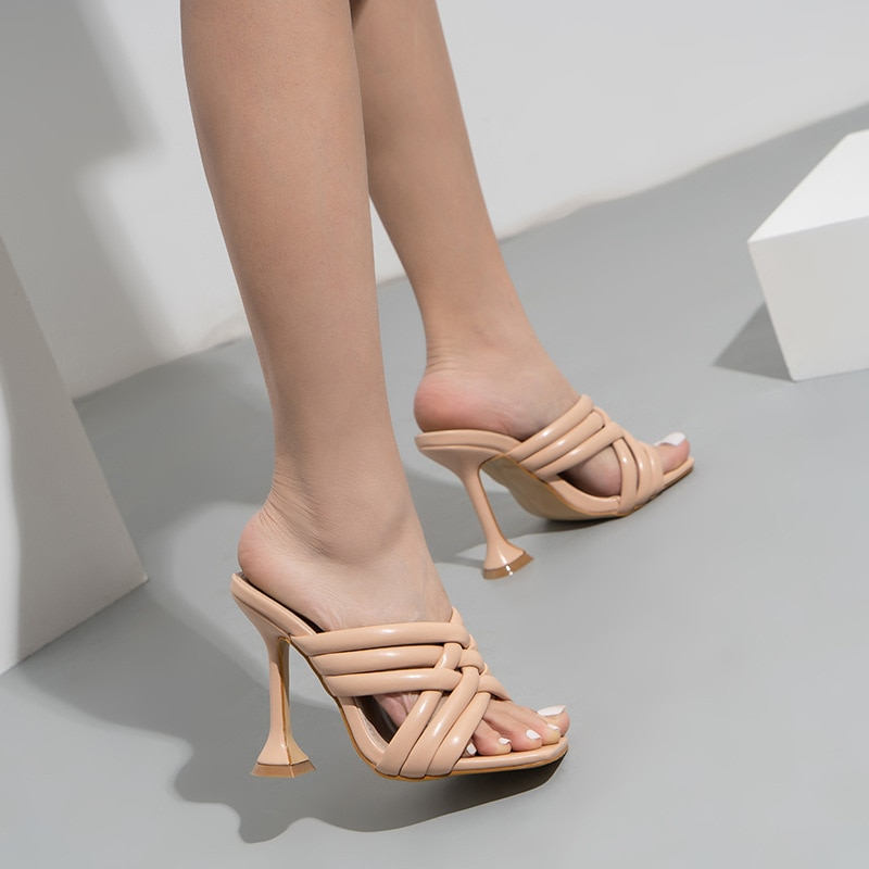 2021 Summer Women Slippers Roman Simple Hollow Cross-Tied Strap Open Toe Slides Pumps Females Shoes PU Solid High Heels