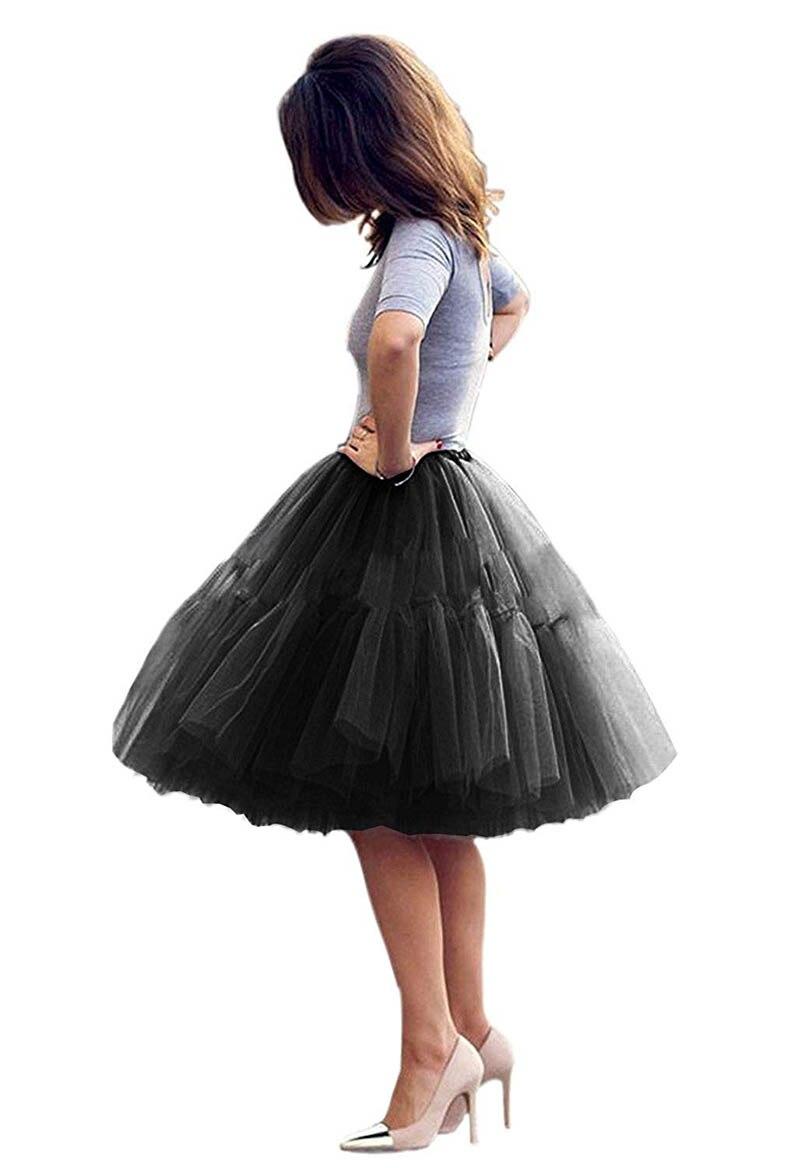 Mujeres negro corto enagua tul mullido princesa cinco capas una línea fiesta...