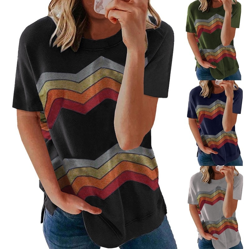 2021 Spring Summer New Short Sleeves T shirt New European and American Striped round Neck T-shirt for Women t shirts pink plain round neck long sleeves tassel hem t shirts