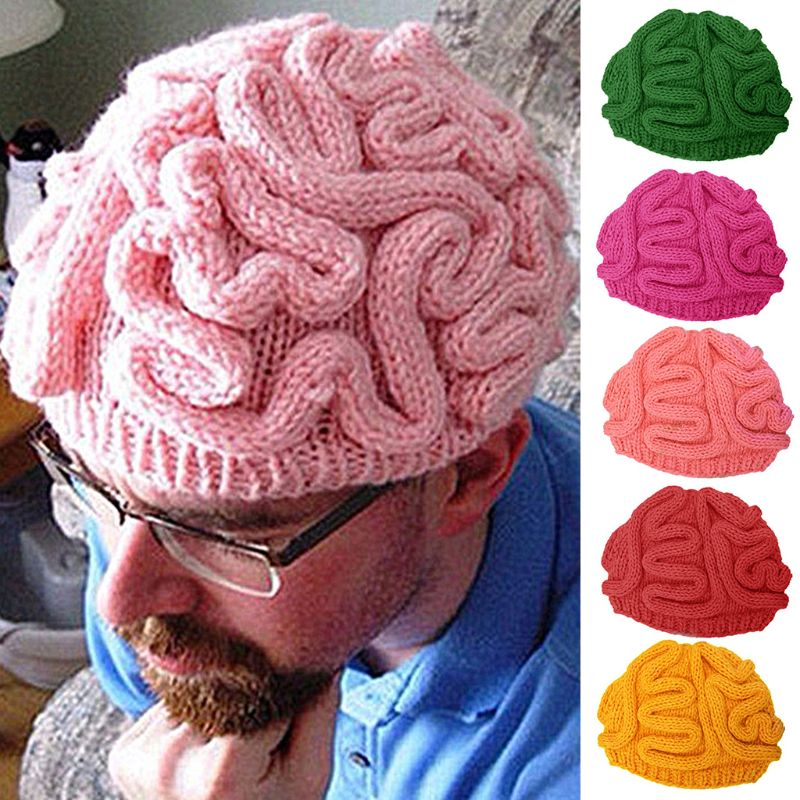 Divertido gorrito de punto de ganchillo hecho a mano sombrero adultos niños invierno Horrible cerebro Color sólido cráneo Cap accesorios de cosplay para Halloween