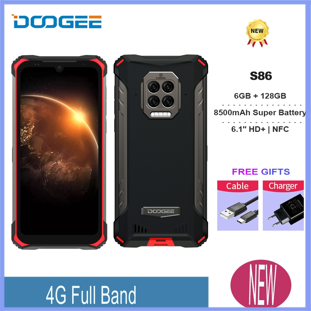 Android10 Google Pay Doogee New S86 6GB+128GB 8500mAh IP68/IP69K 6.1inch Super Battery Mobile Phones NFC Smartphone Octa Core
