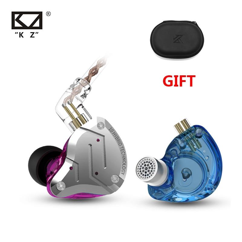 Híbrido de Alta Fone de Ouvido Redução de Ruído Fones de Ouvido com Microfone para kz 4ba + 1dd Fidelidade Drivers Metal In-ear Esportes Zsn kz Zs10 Pro 10