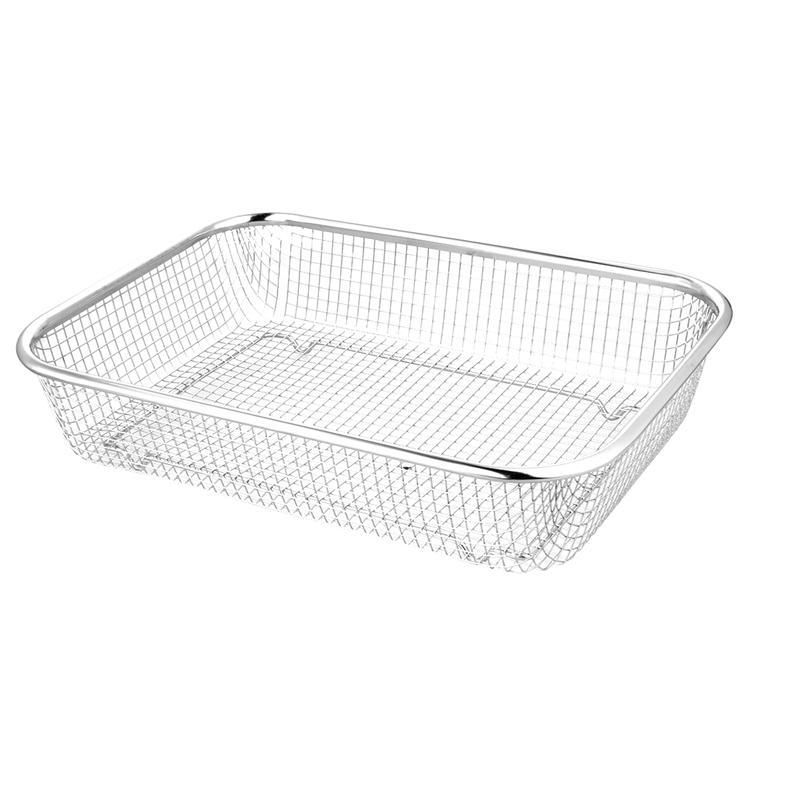 1pc retângulo engrossado cesta de drenagem de aço inoxidável peneira cesta de frutas e vegetais cesta de drenagem de múltiplos propósitos para cozinha