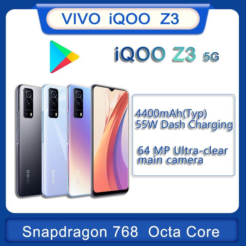 Перейти на Алиэкспресс и купить Мобильный телефон vivo iqoo z3 оригинал новый официальный 5G Snapdragon768G 6,58 дюймов 4400 мА/ч, 55 Вт быстрый заряд 64.0MP Камера