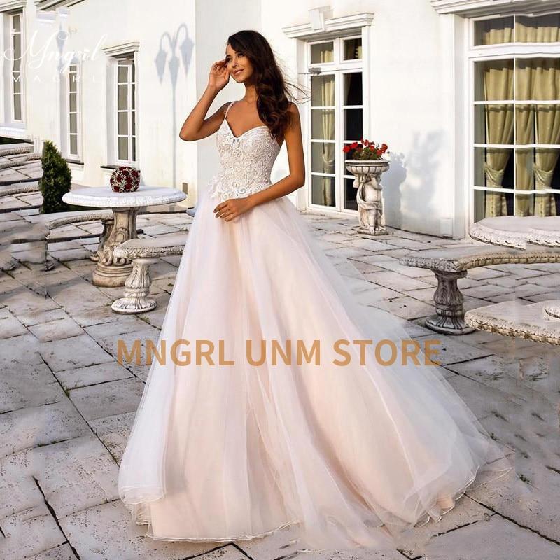 Promo MNGRL Luxury V-neck Sleeveless 3D Flower Wedding Gown White Lace Backless Bridal Dresses Plus Size Wedding Dress Fluffy Skirt