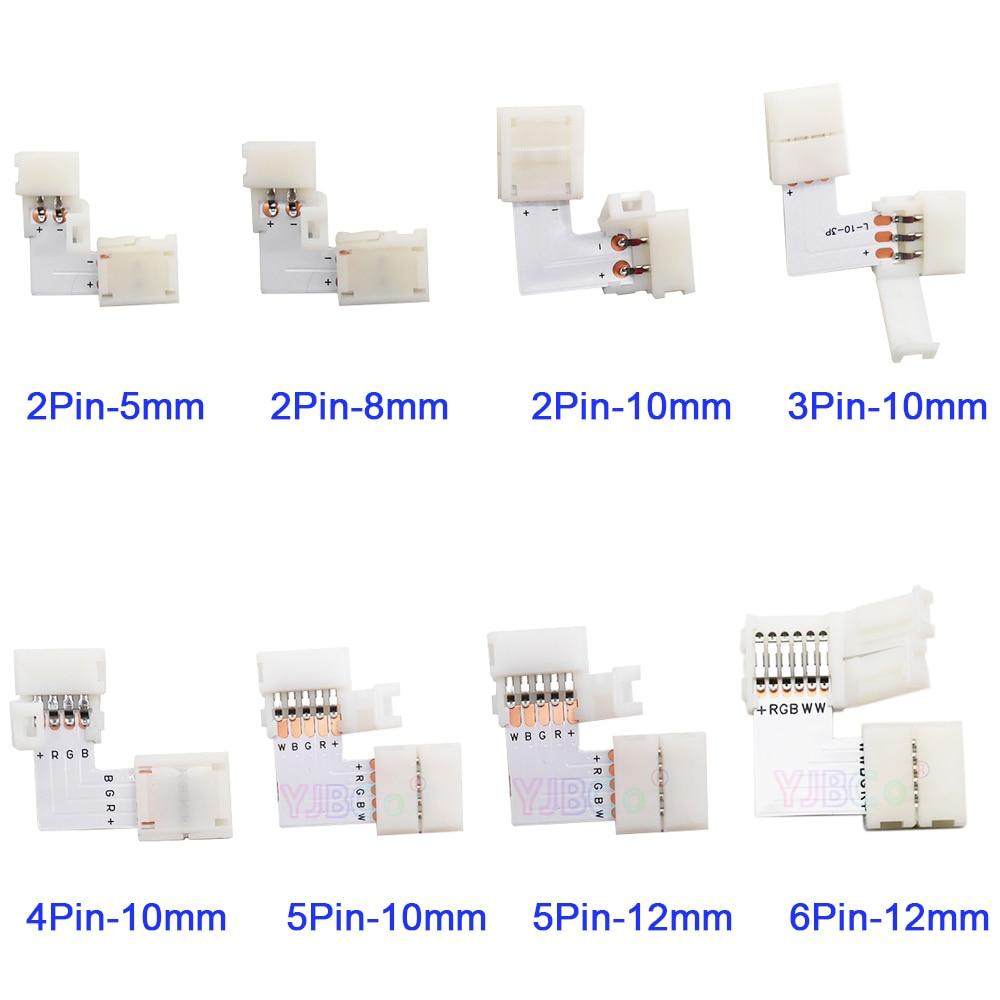 5 مجموعة L شكل 2pin 3pin 4pin 5pin 6pin LED موصل لتوصيل الزاوية الزاوية اليمنى 5 مللي متر/8 مللي متر/10 مللي متر/12 مللي متر FPCB LED قطاع ضوء
