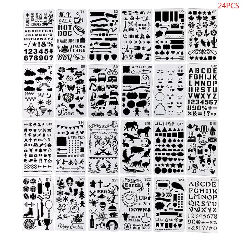24pcs/set Journal Borders Drawing Template Ruler Stencil Painting Board DIY Album Decoration Tool 32CA