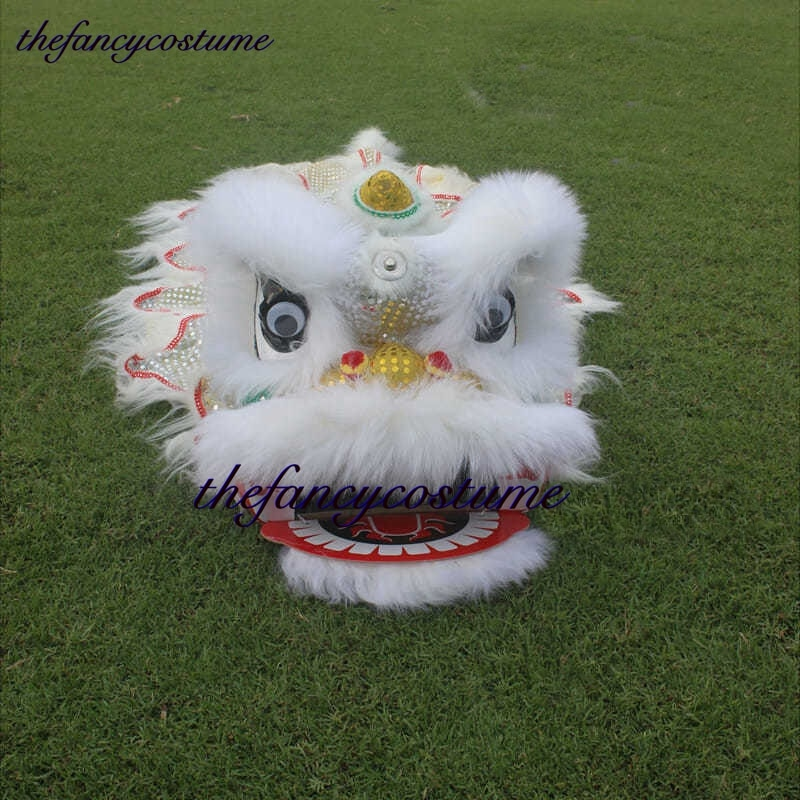 White 12 inch Lion Dance Costume  Royal Suit  2-5 Age kid Children Cartoon Party Sport Outdoor Festival Parade Stage Mascot