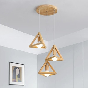 Nordic Solid Wood Restaurant Pendant Lamp Three-Head Bar Table Lamp Log Style Wooden Lamp Japanese Bedroom Bedside Small Lamp