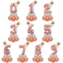Cross border popular crown 30 inch digital aluminum film balloon rose gold column party decoration package