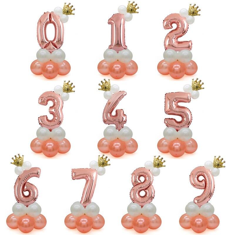 Kreuz grenze beliebte crown 30 zoll digitalen aluminium film ballon rose gold spalte party dekoration paket