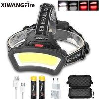COB Head Lamp USB Rechargeable Headlamp Use 18650 BatteryHeadlight Powerful Led Headlamp Head Light Waterproof Fishing Light By