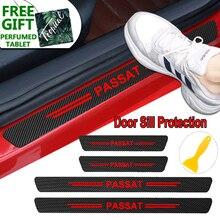 4PCS Carbon Fiber Car Body Door Sill Protector Decals Stickers For Volkswagen VW Passat b6 b5 b7 b8