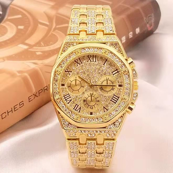 Mens Watches Luxury Hiphop full Iced Out Watch Gold Diamond Rhinestone Watch for Men Wristwatch Relogio Masculino  reloj hombre watch for women top brand luxury iced out watch diamond watch for men iced out cuban link chain necklace wristwatch man hiphop