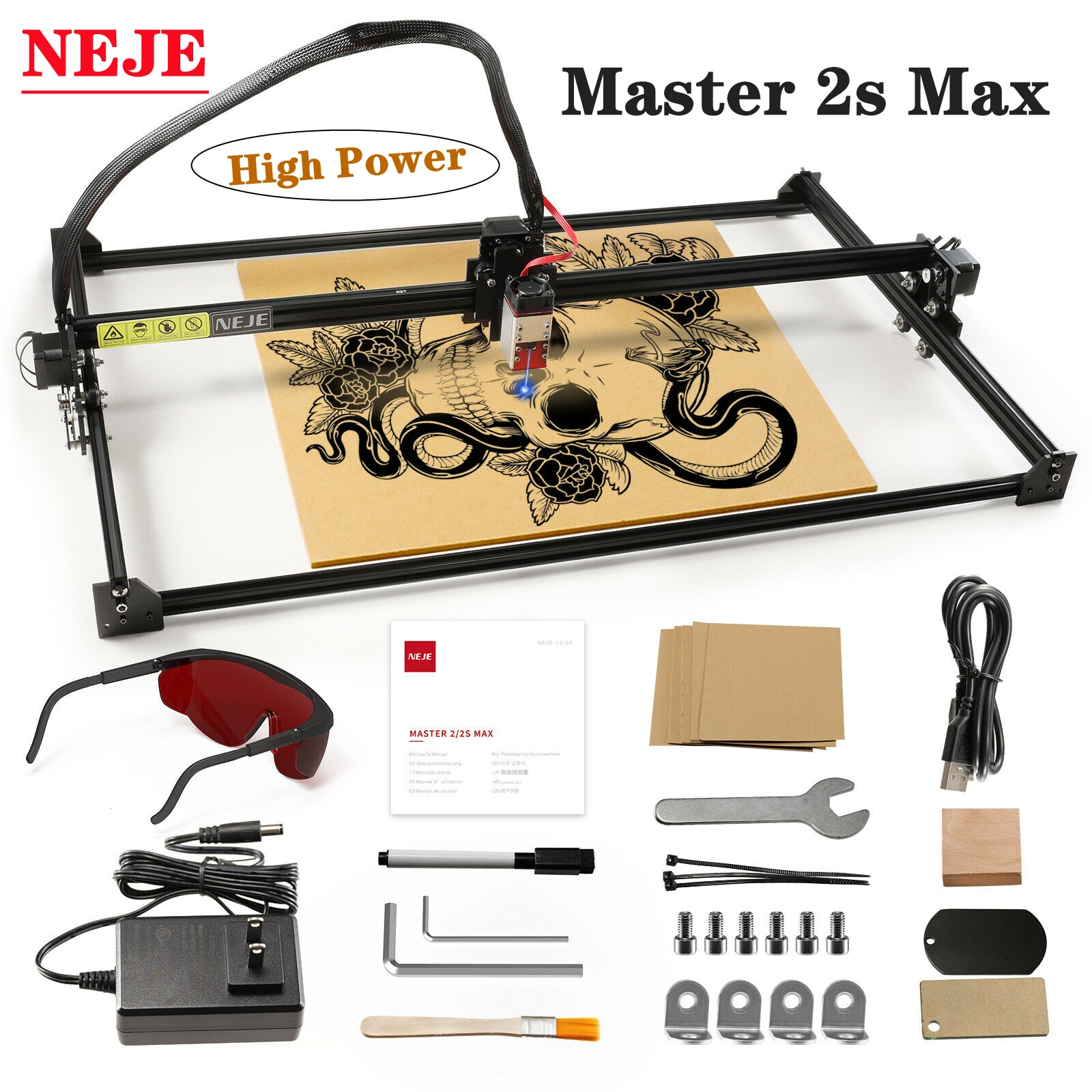 NEJE Master 2s Max- 460 X 810 MM - High Power Engraving Machine CNC Lightburn App Control Laser Cutter Material for Wood/Leather