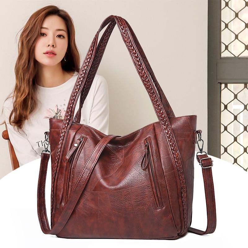 Nova marca de alta qualidade couro macio grande bolso ocasional bolsa feminina bolsa ombro grande capacidade bolsa preta marrom