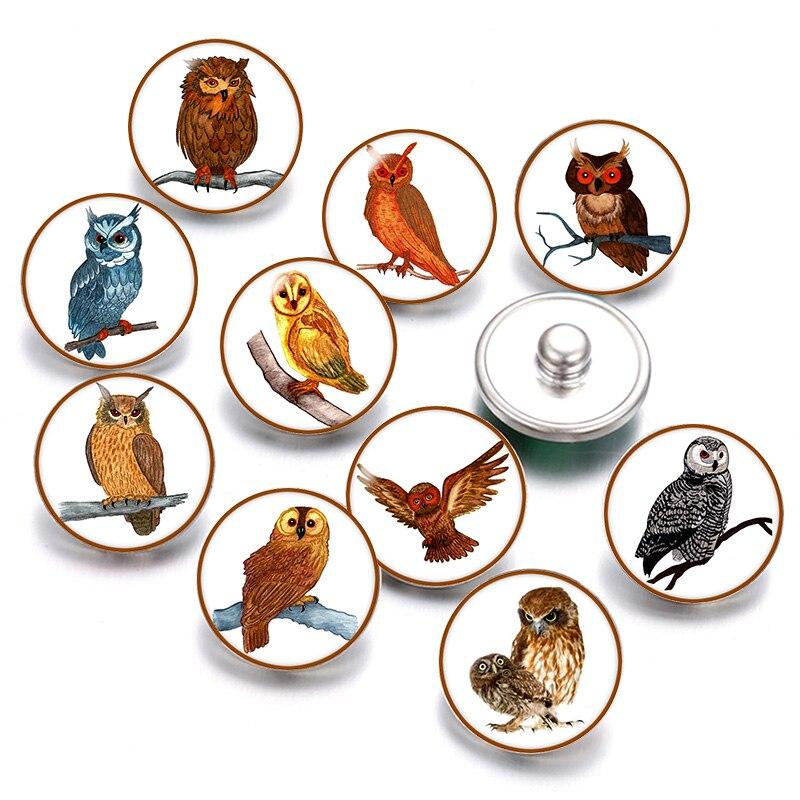 Belle hibou amour 18mm boutons pression 10 pièces mixte rond photo verre cabochon style pour bouton pression bijoux fingdages cadeau