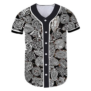UJWI Printed Personality Sports Top Baseball Uniform Casual Hip-hop Animal Leaves Flower Loose Baseball Jersey Men Tracksuit 5XL
