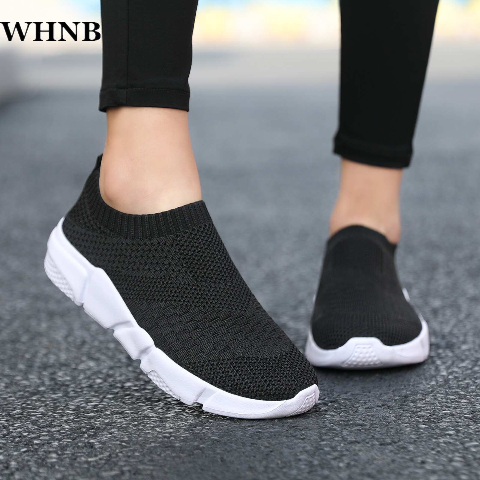 WHNB Flat Slip on Black Shoes Woman Lightweight Walking Sock Sneakers Summer Casual Chaussures Femme Tenis Loafers Plus Size 42