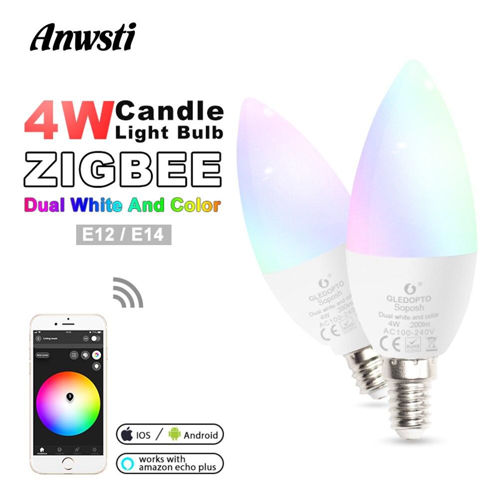 Zigbee LED Smart Bulb E14 E12 4W Dimmable RGBCCT Candle Light lamp Bulbs 220V 110V 230V AC Compatible with Amazon Echo Plus