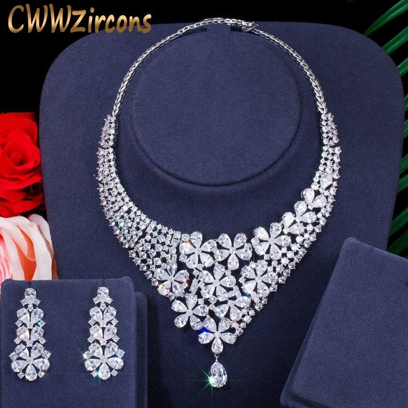 CWWZircons-زهرة كبيرة لامعة ، قلادة تشيكوسلوفاكيا دبي الأفريقية ، أقراط فستان الزفاف ، مجموعات المجوهرات ، الإكسسوارات T386