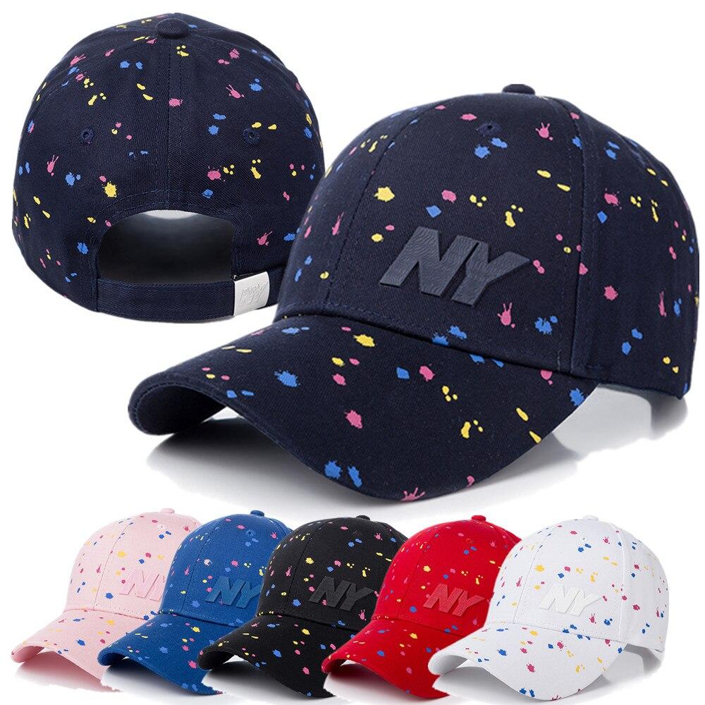 Novo boné feminino moda ny carta remendo boné de beisebol feminino polka dot impressão casual ajustável ao ar livre alta qualidade chapéu boné
