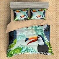 Summer Tropical Plant Fruit Bedding Set Cute Toucan Duvet Cover Set Cactus Pineapple Bed Linen Set Twin Full Quueen King Bedding