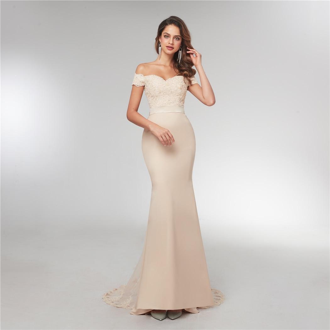 Off The Shoulde Prom Vestidos apliques largo elegante satinado sirena vestido De noche 2020 longitud hasta el suelo Vestidos De Fiesta