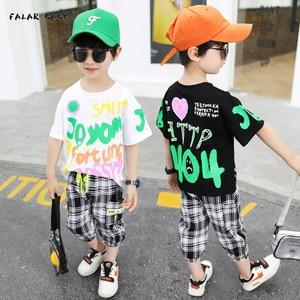 Children's Clothing Boys Short-sleeved Suit Kids Summer White Color Letter Printed T-shirt + Plaid Cropped Pants BT125