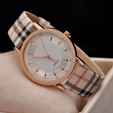 New Famous brand Luxury Fashion Women Watches Casual Leather Watch Rose Gold Dial Plaid Quartz Clock