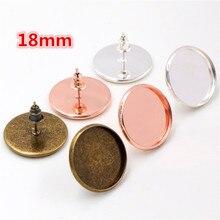 18mm 20 stücke Silber Farbe und Bronze Rose Gold Farbe Ohrring Bolzen, Ohrringe Blank/Basis, fit 18mm Glas Cabochon, Ohrring Einfassungen