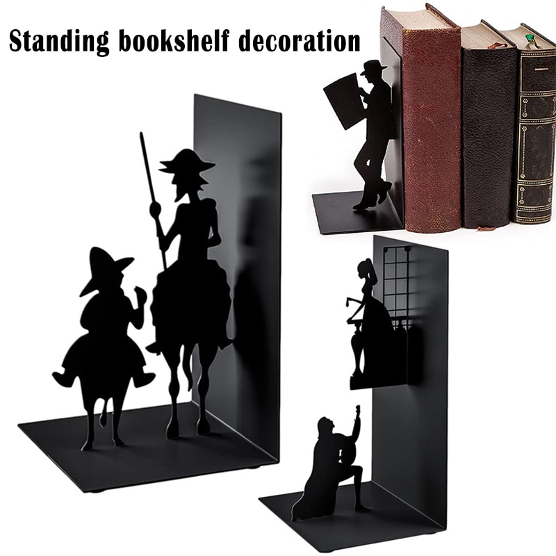 Simple Modern Decorative Book Ends Iron Art Black Metal Bookends for Collecting CD Albums Magazines Heavy Books
