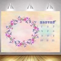 beautiful flowers infant baby milestone photo background art backdrop calendar bebe boy girl photocall studio shoot accessories