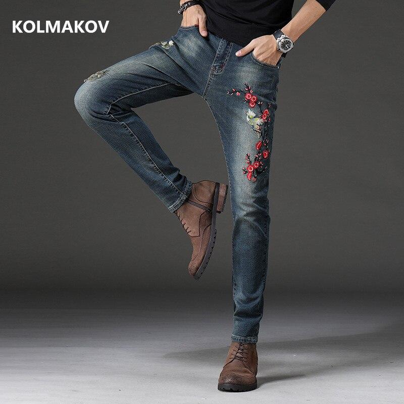 2020 nova chegada estilo nostálgico bordado dos homens denim calças de brim comprimento total moda masculina reta elasticidade jeans