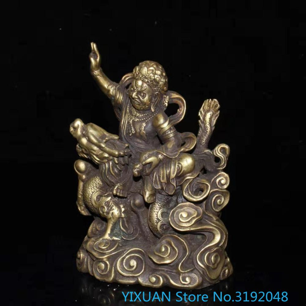 Copper gilt white god of wealth decoration white treasure king riding dragon home worship town house