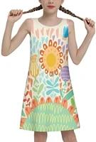 girls sleeveless dress color printing cute tunic jacket summer swing skirt casual party sun skirt
