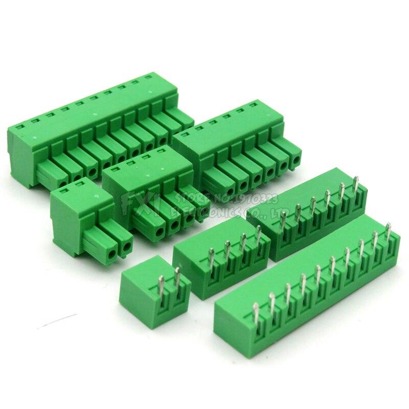 5pair 15EDG 3.81mm KF2EDG PCB Screw Terminal Block Connector Plug-Pin Straight Needle Pitch Header Socket 2/3/4/5/6/7/8/9/10/12