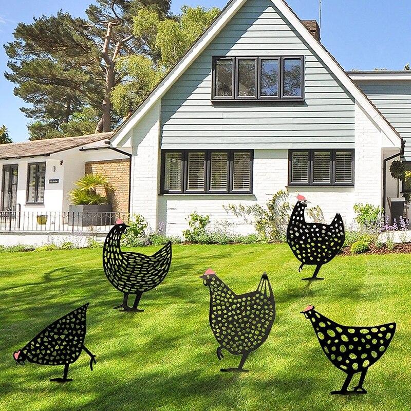 Пасхальная курица, металлическая курица для пасхального садоводства, украшения для двора, железная искусство, открытый сад, задний двор, га...