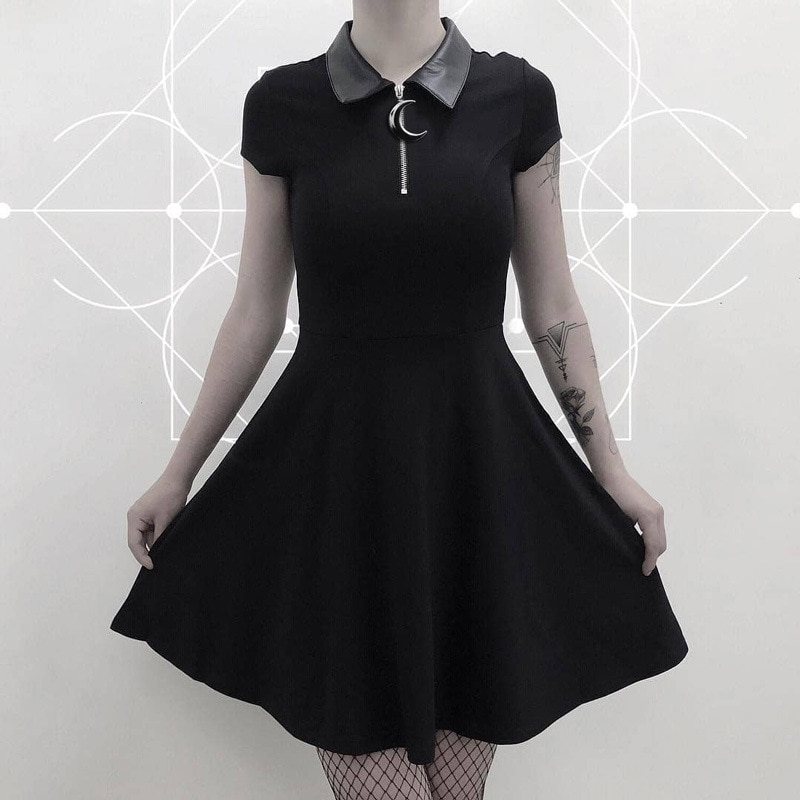 Mall Goth Grunge Aesthetic Vintage Pleated Evenging Party Dresses Gothic Elegant Solid Zipper Dress
