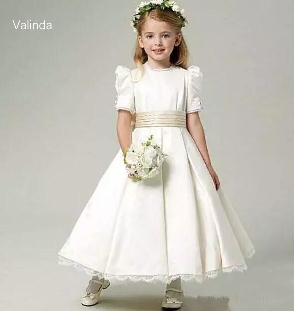 dresses mayoral 10686388 casual dress with short sleeves for girls Short Sleeves Ivory Flower Girl Dresses with Sash First Communion Dress for Birthday Party