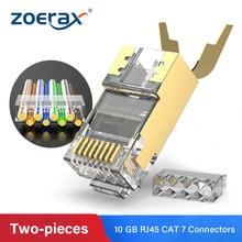 ZoeRax RJ45 Cat7 & Cat6A двухкомпонентные Разъемы 8P8C 50U позолоченный Экранированный FTP/STP