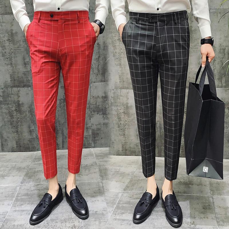 Мужские деловые брюки в клетку, темно-синие повседневные Прямые брюки до щиколотки, приталенные, классические офисные брюки, весна-лето 2021