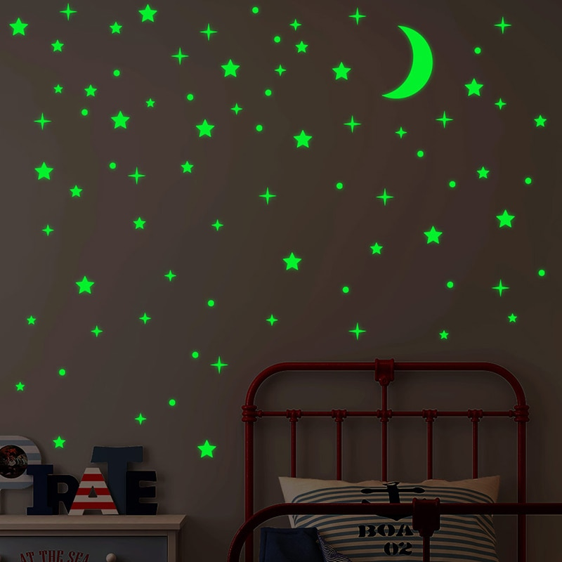 Glow In The Dark Vinyl Wall Stickers Luminous Star Moon DIY Starry Sky For Baby Kids Bedroom Living Room Wall Decals Home Decor