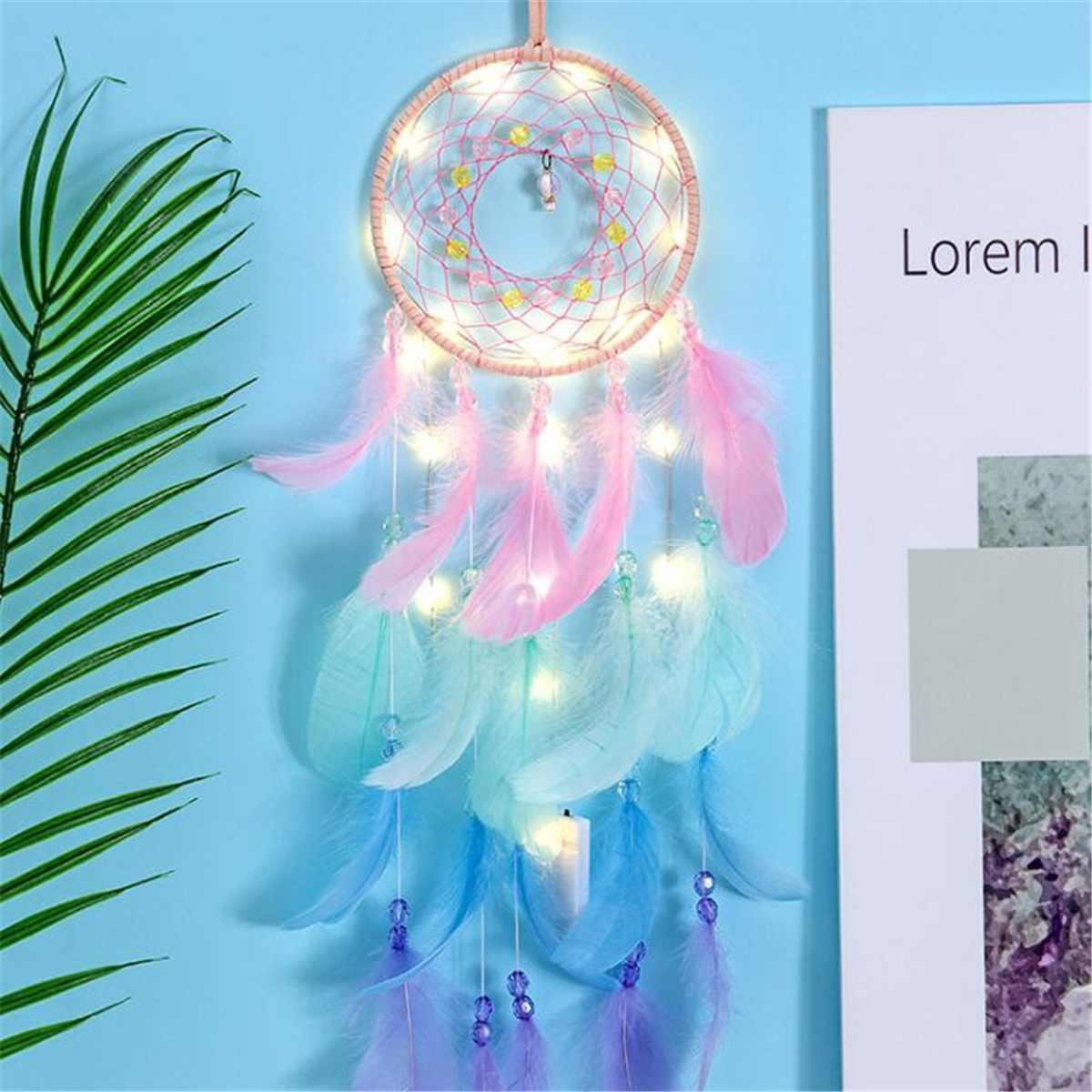 Atrapasueños de estilo nórdico campana de viento pluma colgante atrapasueños con cuerda luz dormitorio sala de estar decoración de pared regalo