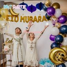 Gold Eid Mubarak Balloon Arch Kit Party Decoration Ramadan Kareem Decor EID Letter Foil Latex Balloon Garland