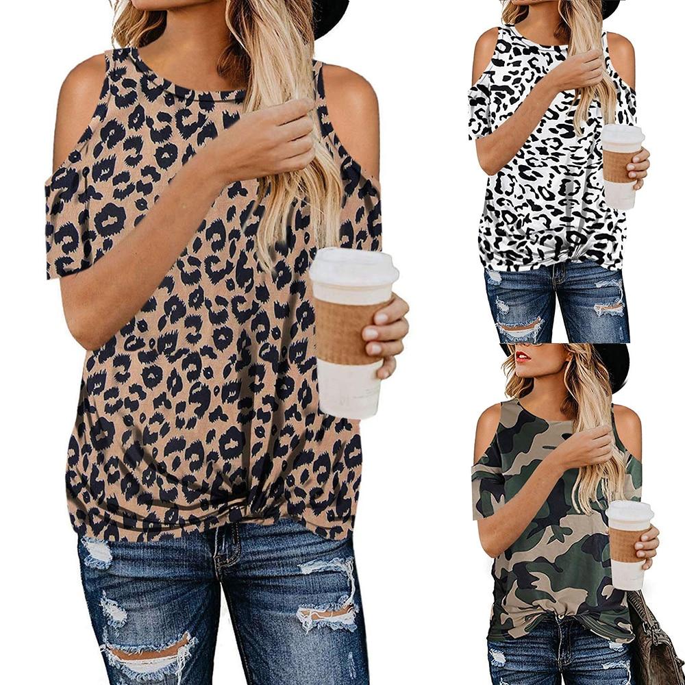 Leopard Print TShirt Sommer Tops Damen Kalten Schulter Shirts Frauen Camouflage T-shirt Kurzarm Tees Sexy Tops t-shirts Weibliche