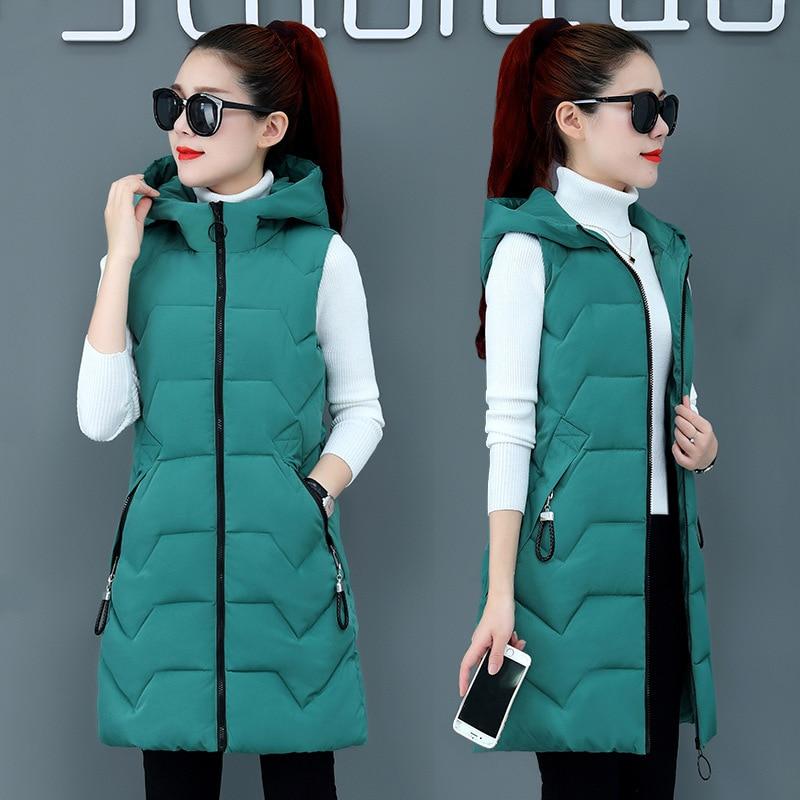 2019 abrigo de invierno para mujer con capucha cálido chaleco largo de talla grande Color caramelo Chaqueta de algodón para mujer Wadded Feminina chalecos