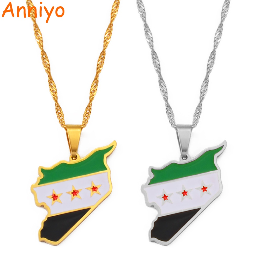 Anniyo Syria Map Flag Gold Color Charms Pendant Necklaces Syrians Jewelry #213721
