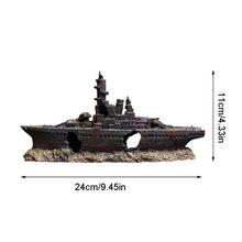Resin Wreck Boat Fish Tank Decoration Sunk Hollow Battle Ship Aquarium Landscape